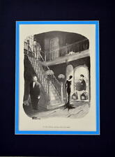 Chas ADDAMS FAMILY WEDNESDAY & PUGSLEY RETURN FROM SUMMER CAMP PRINT PRO MATTED