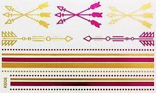 Tatouage Or Rose UNE FOIS collée Flash Temporaire 13teile bracelet collier pied