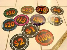 """Plastic 8 1/4"""" Oversized Poker Chips Party Decorations lot of 12 each different"""