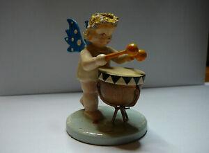Figurine STEINBACH Ange Bois Musicien Tambour VINTAGE CHRISTMAS Noel GERMANY