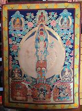 Tibetan hand-painted Thousand-hand kwan-yin Bodhisattva Tangka Buddhism Painting