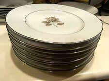 Towne Fine China Porcelian Bavaria Germany Moonlight Rose Set of 8 Plates NICE!