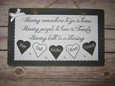 Handmade Wall Plaque Family Tree Hearts Personalised Friend Gift Home