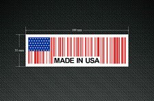 2 x MADE IN USA BAR CODE Stickers/Decals with a White Background - EURO - DUB
