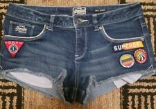 SuperDry Hot Pant Denim With patches  Cutoff Jean Shorts Size W30