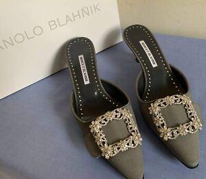 $925 Manolo Blahnik Maysale Jewel Crystal Women's Sandal Low Heel Mules Sz.39/9