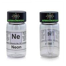 Neon gas element 10 Ne sample 99,9% in mini ampoule and vial + colored label