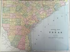 Antique Color Map of Texas( Eastern Half)-circa 1893