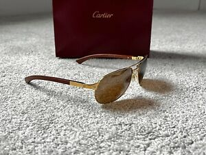 Cartier Santos Gold Wooden Arms Sunglasses 65/16 Size RRP £1895