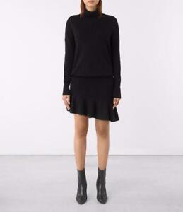 All Saints Hava Knitted Jumper Dress Cinder Black Wool/Cashmere Size M BNWT £148