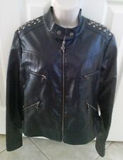 Womens AKS MKS Black Faux Leather Moto Jacket Studs Laced Up Back & Arms Sz L