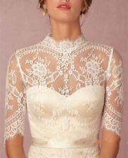 Ivory/White Wedding Jackets Lace Half Sleeve Top Sleeve High Collar Bride Bolero