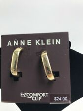 Anne Klein Gold Tone Clip on Hoop Earrings A32b