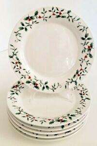 "Royal Seasons Christmas Holly & Berries Dinner Plates Set of Six 10-3/8"""