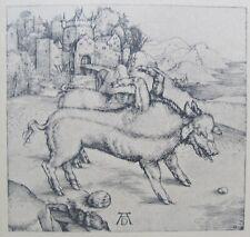"ALBRECHT DURER AFTER GERMAN WOODBLOCK ""MONSTROUS PIG OF LANDSEER"" C 1890"