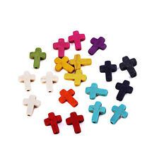 Hot 40x Stone Cross Beads Loose Spacer Charm Fit DIY Jewelry Makings Mixed Color