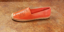 New! Tory Burch 'Perforated Logo' Orange Leather Espadrille Flats 11 M MSRP $195