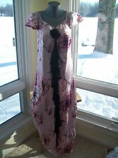 NEW $409 Jacques Vert RUBY ROSE Silk Devore Rose Print Dress Pink EU40 US10