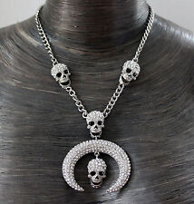 Butler and Wilson Clear Crystal Skull & Curved Tusk Necklace NEW