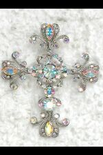cross Crucifix pin brooch pendant *Lot Of 2* Gorgeous Ab crystal