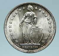 1955 SWITZERLAND - SILVER 2 Francs Coin HELVETIA Symbolizes SWISS Nation i83224