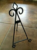 """WROUGHT IRON SHABBY EASEL / PICTURE / PLATE STAND 14 1/2"""" TALL"""