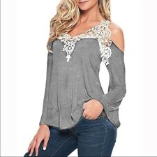 Elegant and Sexy Off Shoulder Long Sleeve Top-Grey