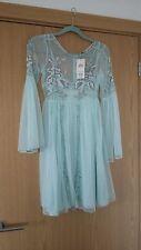 New MISS SELFRIDGE Mint Green Beaded Mesh Boho Midsummer Dress Size 8 Embellishe