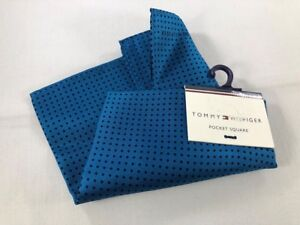 "NEW TOMMY HILFIGER Silk Pocket Square ~ $35 NWT 13"" Blue Navy Dot 3397"