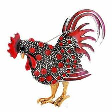 Pins Animal Charm Party Women Gift Chic Red Cock Rooster Purple Crystal Brooch
