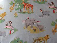"CAth Kidston FQ 20"" 50cm square Zoo Animals Blue cotton fabric lightweight new"