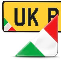 2 x 3D Domed Italy Flag Number Plate Car Laptop Phone Helmet Bike Case Stickers