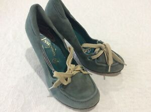 Irregular Choice teal blue suede, cream laces court shoes size 40/7