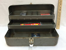 "Tackle Box My Buddy Gray Metal Vintage Tackle Included Latch Handle 13"" Trays"