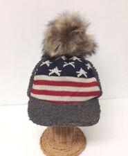 Winter USA American Flag Stars Stripes Faux Fur Beanie Hat Skull Ski Gray#gtc