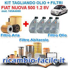 KIT TAGLIANDO FIAT 500 1.2 BENZINA 8V FILTRI + 4 OLIO Q8 FORMULA 10W40 169A4000