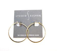 Studio Silver 18K Gold Over Sterling Silver Hoop Earrings Retail $70