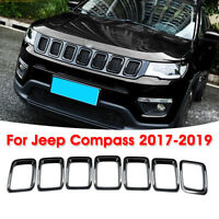 For 2017-2019 Jeep Compass 7PCS ABS Black Front Grille Grill Cover Frame Decor