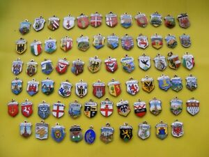 7) VARIOUS VINTAGE STERLING & 800 SILVER CHARMS UK & WORLDWIDE TRAVEL SHIELD