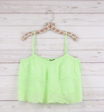 New Guess Womens Spaghetti Strap Ruffle Cropped Tank Top Cami Neon Green L $49