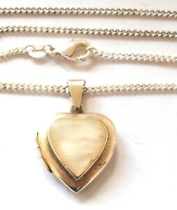925 Silver Mother of Pearl White Heart Locket Pendant Chain Necklace Vintage