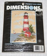 DIMENSIONS Stamped Cross Stitch Kit 6774 Coastal Lighthouse Nautical Beach 5 X 7