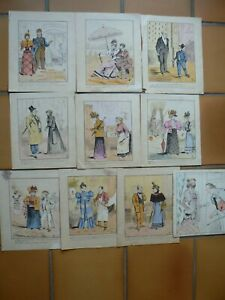 10 DESSINS HUMORISTIQUES SIGNEES DATEES 1901 1902
