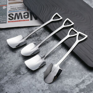 4x Stainless Steel Durable Spade Scoop for Birthday Party Dessert* Shovel Spoon