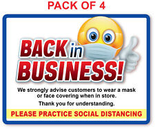 4 - BACK IN BUSINESS Face Mask Social Distance STICKER - Retail Store Decal Sign