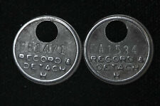 21mm Lot of 2 Record and Detach Fob Keychain Vintage plaque tag