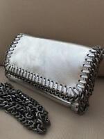 Silver Ladies 100% Italian leather Snake Chain Trim Clutch Bag Prom Shoulder Bag