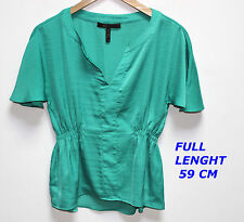 BCBG MAX AZRIA SHIRT TOP BLOUSE GREEN COLOR SHORT SLEEVE SIZE XXS LENGTH 59 CM