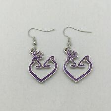 Fashion Jewelry, Browning Jewelry(purple Heart Browning Deer Charm Earrings,