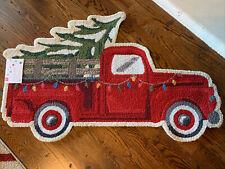 New Christmas Holiday Accent Rug Red Truck With Tree Shaped Rug 27x45